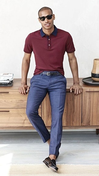 How to wear: burgundy polo, blue dress pants, black leather loafers, black leather belt