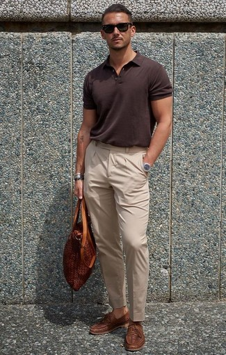 How to wear: dark brown polo, beige dress pants, brown woven leather loafers, tobacco leather tote bag