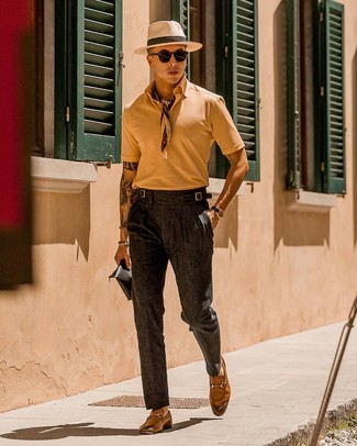 How to wear: tan polo, charcoal dress pants, tan leather loafers, beige bandana