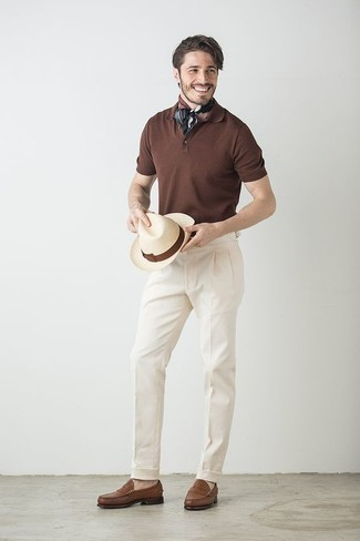 Black Print Bandana Outfits For Men: If you're a jeans-and-a-tee kind of dresser, you'll like this straightforward pairing of a dark brown polo and a black print bandana. A pair of brown leather loafers easily classes up the ensemble.