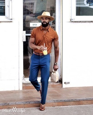 How to Wear a Tan Straw Hat For Men: A tobacco polo and a tan straw hat are essential menswear pieces, without which our closets would certainly feel incomplete. Make your look slightly more sophisticated by rounding off with brown leather tassel loafers.