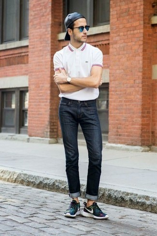 Black Athletic Shoes Outfits For Men: Combining a white polo with navy jeans is an amazing option for a cool and casual ensemble. Black athletic shoes are a surefire way to add a touch of stylish nonchalance to your ensemble.