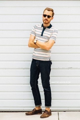 How to Wear Dark Brown Sunglasses For Men: This combo of a white horizontal striped polo and dark brown sunglasses is great for off-duty days. Infuse an added touch of style into this outfit by finishing off with a pair of brown leather derby shoes.