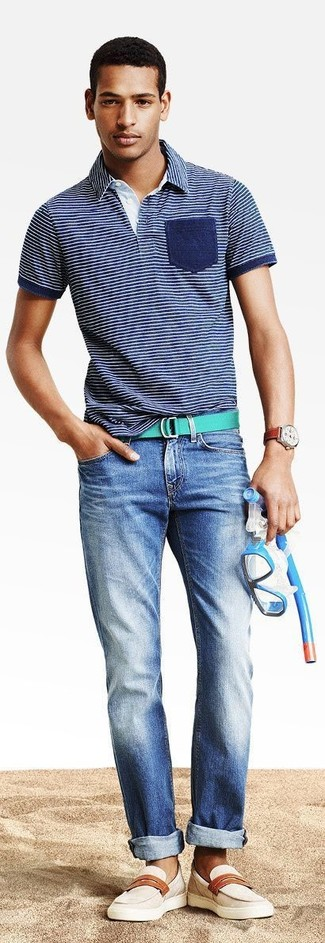 How to wear: navy horizontal striped polo, blue jeans, beige leather loafers, green canvas belt