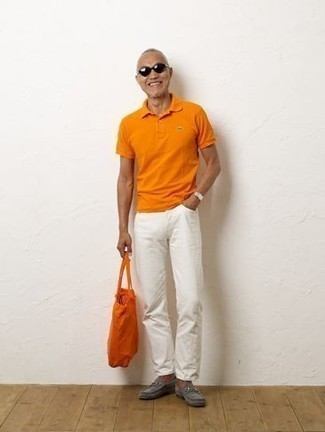 How to Wear an Orange Canvas Tote Bag For Men: An orange polo and an orange canvas tote bag are a savvy pairing to sport at the weekend. Grey suede loafers are a surefire way to inject a sense of sophistication into this outfit.