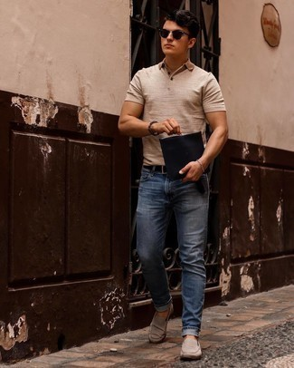 Men's Outfits 2021: This pairing of a beige polo and blue jeans is extremely easy to put together and so comfortable to sport over the course of the day as well! Beige suede loafers are an effortless way to power up your outfit.