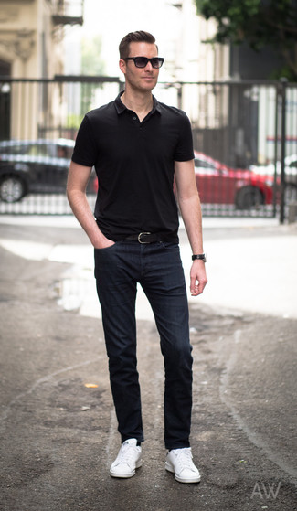 Men's Black Polo, Navy Jeans, White Leather Low Top Sneakers, Black Leather  Belt   Men's Fashion
