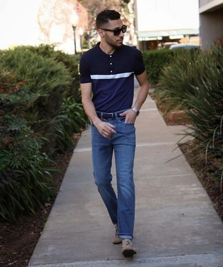 Men's Outfits 2021: For a relaxed outfit, marry a navy and white polo with navy jeans — these two items fit perfectly together. For something more on the elegant side to complete this ensemble, add a pair of tan suede tassel loafers to the mix.