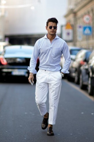 How to Wear a Polo Neck Sweater For Men: Marrying a polo neck sweater and white dress pants is a surefire way to inject your styling arsenal with some masculine sophistication. For something more on the daring side to finish your ensemble, complement this ensemble with a pair of black leather derby shoes.