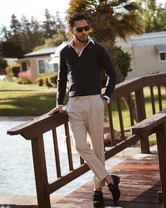 Beige Chinos Outfits: A smart casual combination of a charcoal polo neck sweater and beige chinos can keep its relevance in a ton of occasions. A pair of black suede loafers instantly classes up any look.