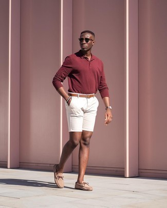 Tobacco Leather Belt Outfits For Men: Showcase your credentials in menswear styling in this modern casual combination of a burgundy polo neck sweater and a tobacco leather belt. Go ahead and complete this ensemble with tan suede driving shoes for an added touch of style.