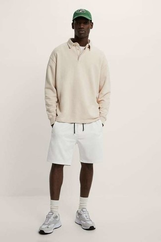White Sports Shorts Outfits For Men: Stylish yet comfortable, this ensemble features a beige polo neck sweater and white sports shorts. A pair of grey athletic shoes instantly boosts the wow factor of your look.