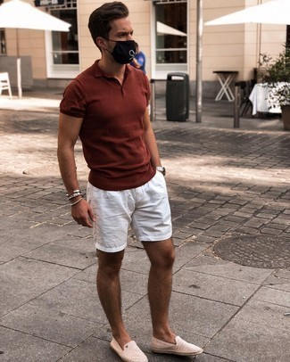 White Shorts Casual Outfits For Men: This combo of a tobacco polo and white shorts is very easy to put together and so comfortable to rock as well! Our favorite of a great number of ways to finish this getup is beige canvas espadrilles.