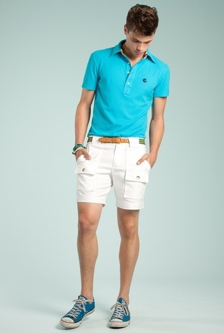 How to wear: aquamarine polo, white shorts, blue canvas low top sneakers, green horizontal striped canvas belt