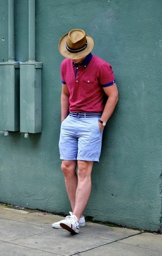 How to wear: hot pink polka dot polo, light blue shorts, white low top sneakers, tan hat