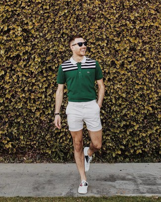 How to wear: dark green horizontal striped polo, white shorts, white canvas low top sneakers, black sunglasses