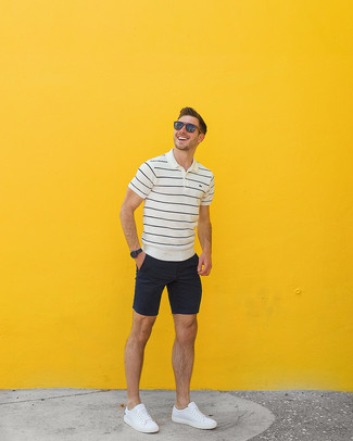 How to wear: white and black horizontal striped polo, black shorts, white leather low top sneakers, brown sunglasses