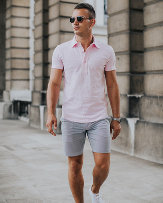 How to wear: pink polo, grey seersucker shorts, white low top sneakers, black sunglasses