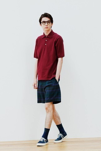 Clear Sunglasses Outfits For Men: If you prefer laid-back pairings, then you'll love this combo of a burgundy polo and clear sunglasses. Got bored with this outfit? Introduce navy canvas low top sneakers to spice things up.