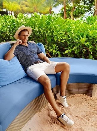 How to wear: navy polo, white shorts, white plimsolls, beige straw hat