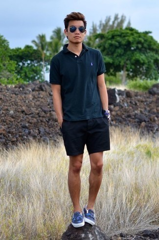 Navy Sunglasses Outfits For Men In Their Teens: Go for a teal polo and navy sunglasses to feel infinitely confident and look stylish. Introduce navy canvas slip-on sneakers to the mix for a hint of class. A nice, laid-back pairing for teen guys.
