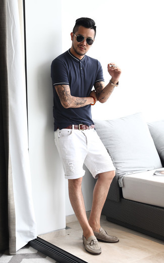 How to wear: navy polo, white ripped denim shorts, grey leather tassel loafers, brown leather belt