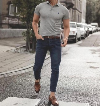 Grey Polo with Loafers Outfits For Men