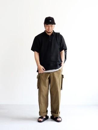 Men's Black Polo, White Tank, Khaki Cargo Pants, Black Leather Sandals