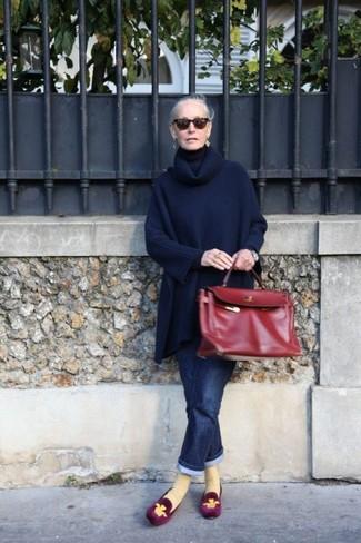 Poncho boyfriend jeans loafers satchel bag sunglasses large 13290
