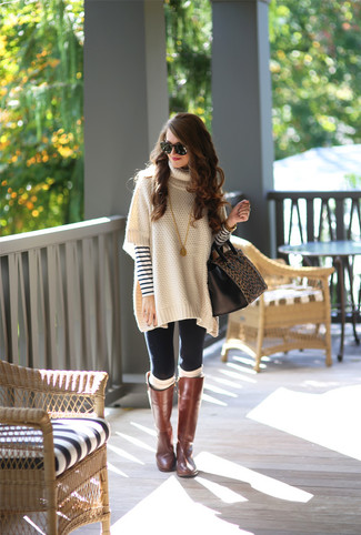 Try pairing a white horizontal striped crew-neck jumper with black leggings for a relaxed take on day-to-day wear. Brown leather knee high boots will instantly smarten up even the laziest of looks.