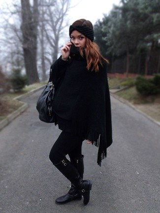 How to wear: black poncho, black leather knee high boots, black leather tote bag, black knit headband