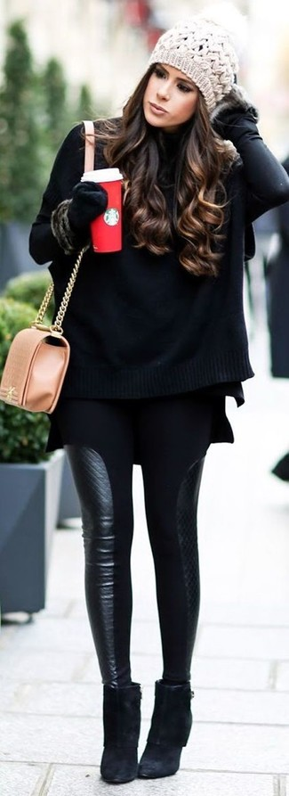 How to wear: black knit poncho, black turtleneck, black leather leggings, black suede ankle boots