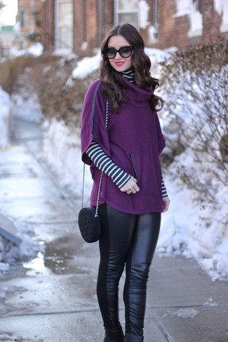Women's Looks & Outfits: What To Wear In 2020: A purple poncho and black leather leggings are great pieces to have in your casual routine. If you need to immediately spruce up this outfit with a pair of shoes, introduce black leather ankle boots to this ensemble.