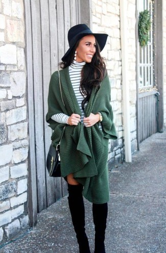 How to wear: dark green poncho, white and black horizontal striped turtleneck, black suede over the knee boots, black leather crossbody bag