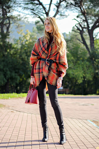 How to wear: red plaid poncho, black turtleneck, black skinny jeans, black leather ankle boots