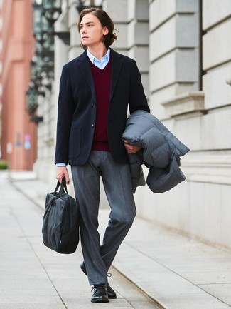 How to wear: grey puffer coat, black wool blazer, burgundy v-neck sweater, light blue dress shirt