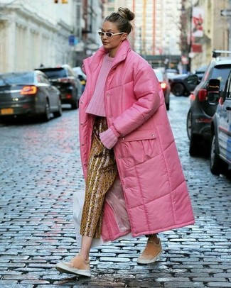 How to wear: hot pink puffer coat, hot pink cable sweater, gold print tapered pants, pink suede slip-on sneakers
