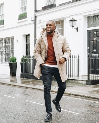 Tobacco Crew-neck Sweater Outfits For Men: Pair a tobacco crew-neck sweater with black jeans for a cool and relaxed and stylish ensemble. Why not complete this outfit with black leather derby shoes for a dash of polish?
