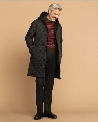 Black Puffer Coat Outfits For Men: Dress in a black puffer coat and navy dress pants for a sleek elegant getup. Black leather loafers look great rounding off your getup.