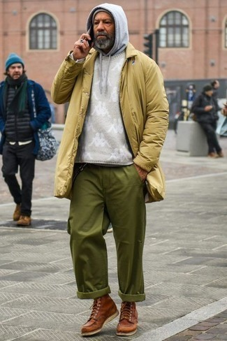 How to Wear a Grey Hoodie For Men: To don a casual ensemble with a twist, pair a grey hoodie with olive chinos. A trendy pair of brown leather casual boots is a simple way to bring a sense of elegance to this ensemble.