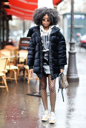 How to wear: black puffer coat, white and black print hoodie, black leather mini skirt, silver leather platform loafers