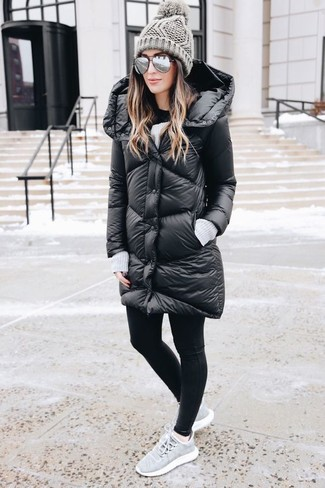 A black puffer coat and a Portolano women's Minerva Hatchi Stitch Beanie is a smart combo to impress your crush on a date night. A pair of grey athletic shoes will be a welcome addition to your outfit. Loving that this outfit is great come colder days.
