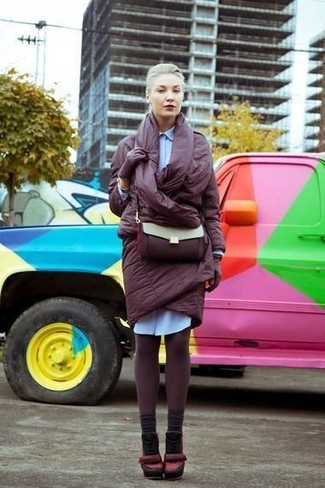 How to wear: burgundy puffer coat, light blue shirtdress, burgundy leather pumps, burgundy leather crossbody bag