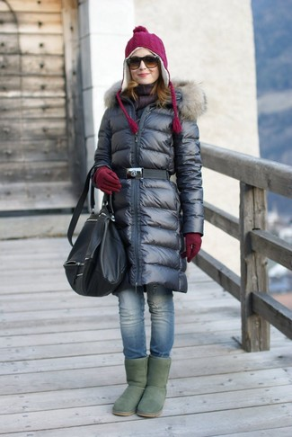 Opt for comfort in a black puffer coat and blue ripped skinny jeans. Break up your look with more casual shoes, such as this pair of green uggs. And we all know chilly, wintry days call for neat looks just like this one.