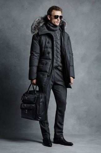 How to Wear a Charcoal Knit Turtleneck For Men: You're looking at the solid proof that a charcoal knit turtleneck and black wool dress pants look amazing when worn together in a sophisticated look for today's gent. A pair of black leather chelsea boots is a good pick to complement this outfit.