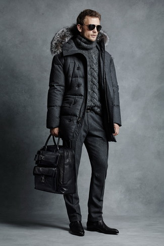 How to wear: black puffer coat, charcoal knit wool turtleneck, black wool dress pants, black leather chelsea boots