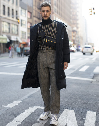 How to Wear a Black Leather Fanny Pack For Men: The combo of a black puffer coat and a black leather fanny pack makes this a knockout casual outfit. White athletic shoes integrate effortlessly within plenty of combos.