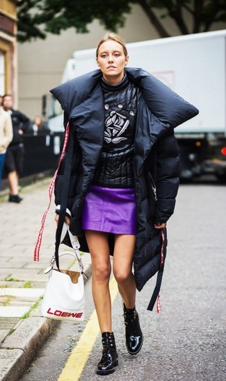 How to wear: black puffer coat, black print leather turtleneck, purple leather mini skirt, black leather lace-up ankle boots