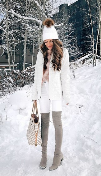 How to wear: white puffer coat, pink knit turtleneck, white skinny jeans, grey suede over the knee boots