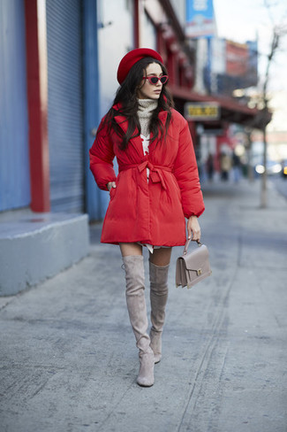 How to wear: red puffer coat, grey knit turtleneck, white sweater dress, grey suede over the knee boots